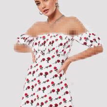 برند Missguided  مدل white rose bardot puff sleeve skater dress