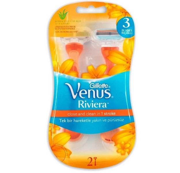 تیغ اصلاح ونوس مدل Riviera ژیلت (Gillette) | حاوی دو تیغ یکبار مصرف برای خانمها