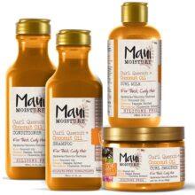 پک محصولات روغن نارگیل موی فر مائویی (Maui) | شامپو، نرم کننده، ماسک و کرم موهای فر، مواج و حالت دار