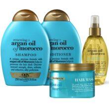 پک محصولات روغن آرگان مراکش OGX اصل | شامپو، نرم کننده، ماسک مو و اسپری روغن آرگان او جی ایکس