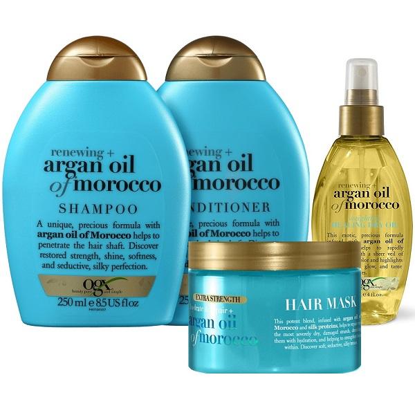 پک محصولات روغن آرگان مراکش OGX | شامپو، نرم کننده، ماسک مو و اسپری روغن آرگان او جی ایکس