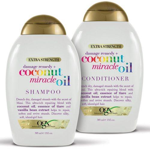 پک شامپو و نرم کننده روغن نارگیل میراکل OGX   بدون سولفات، ترمیم و نرم کننده فوق العاده مو