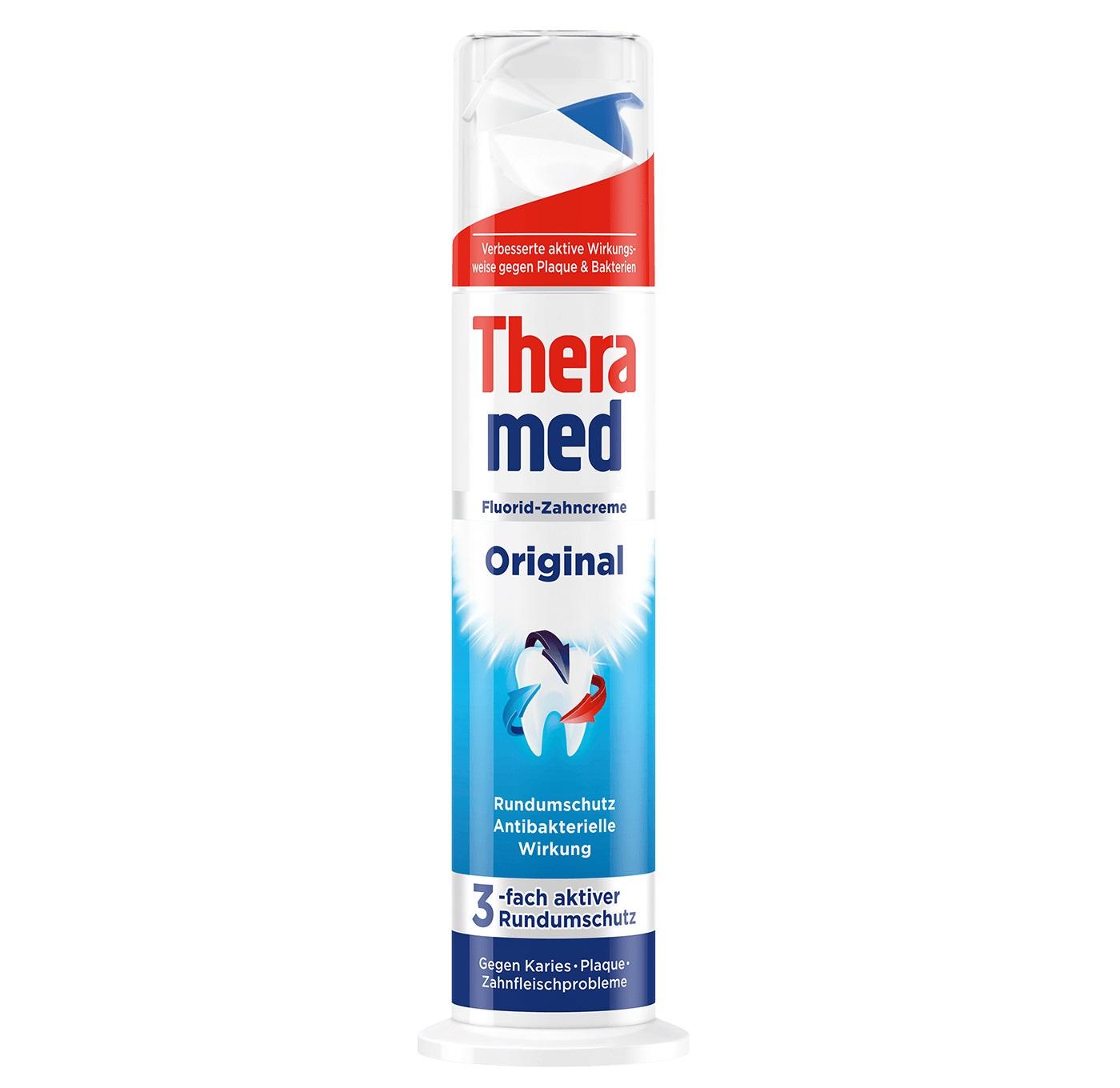 خمیر دندان حاوی فلوراید original ترامد Theramed | ضد باکتری، ضد پوسیدگی، ضد جرم و پلاک