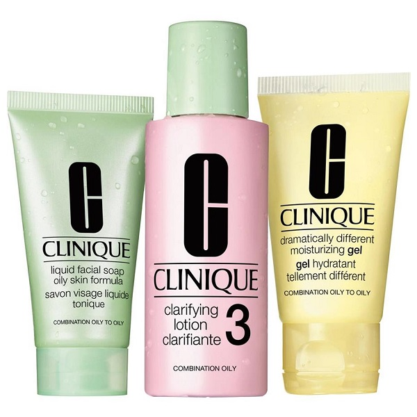 پک مراقبت روتین 3 مرحلهای پوست شماره 3 کلینیک اصل | مخصوص پوست چرب و مختلط چرب (Clinique set 3-Step Skin Type 3)