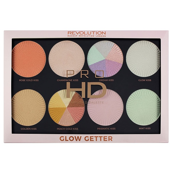 پالت هایلایتر Glow Getter رولوشن | 8 سایه های هایلایتر شاین و اکلیلی از REVOLUTION HD Amplified Palette Glow Getter