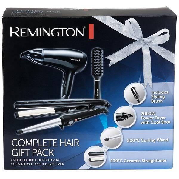 پک کامل محصولات برقی مو رمینگتون اصل | مدل S3500GP | سشوار، اتو مو، فر کننده و برس مو Remington