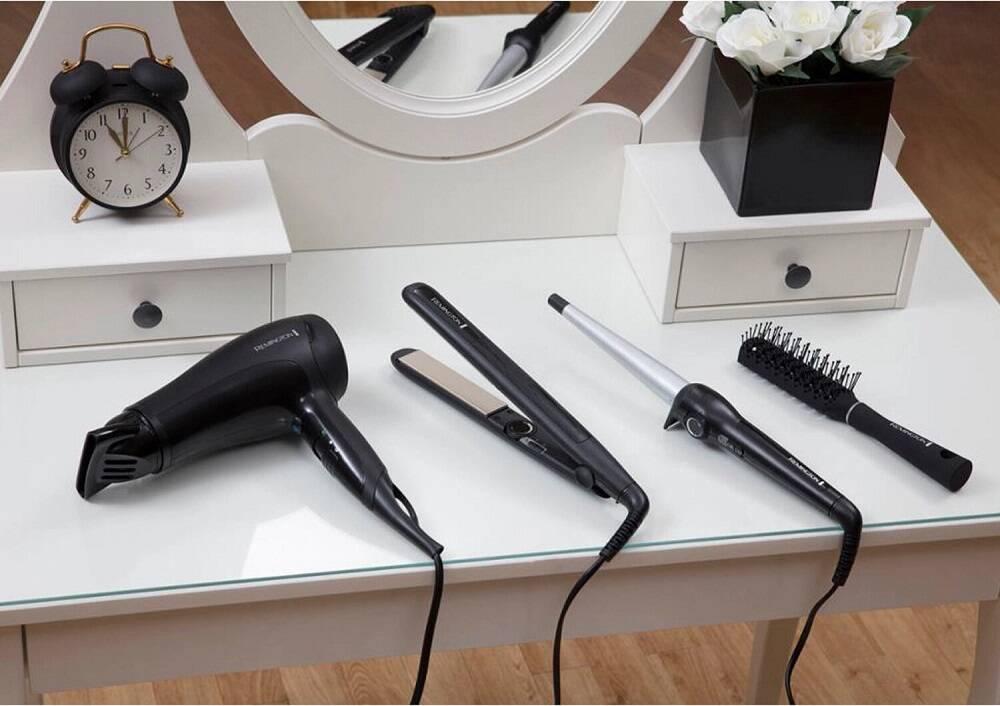 پک کامل محصولات برقی مو رمینگتون اصل   مدل S3500GP   سشوار، اتو مو، فر کننده و برس مو Remington