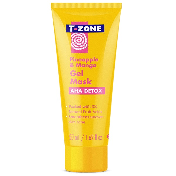ماسک ژله ای آناناس و انبه تی زون (T-zone)   حاوی 3% آلفا هیدروکسی، ضد لک و شفاف کننده، انواع پوست   T-ZONE Pineapple & Mango AHA Detox gel mask