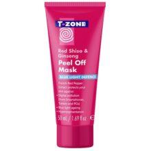 ماسک تی زون (T-Zone) اصل | مدل پیل آف شیسوی قرمز و جینسنگ، دفاع از پوست در برابر آلودگی و نور آبی | ۵۰ میل