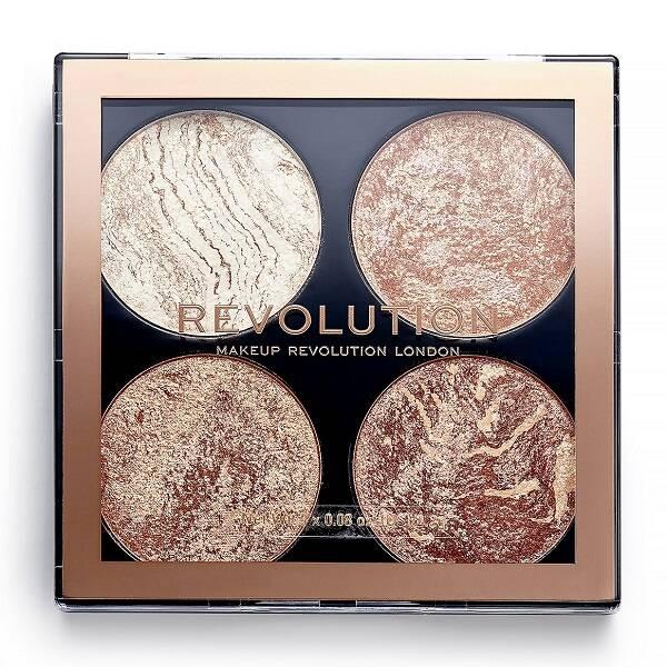 پالت چند کاره Cheek Kit رولوشن اصل | 4 سایه درخشان هایلایتر و برنزر Makeup Revolution Cheek Kit