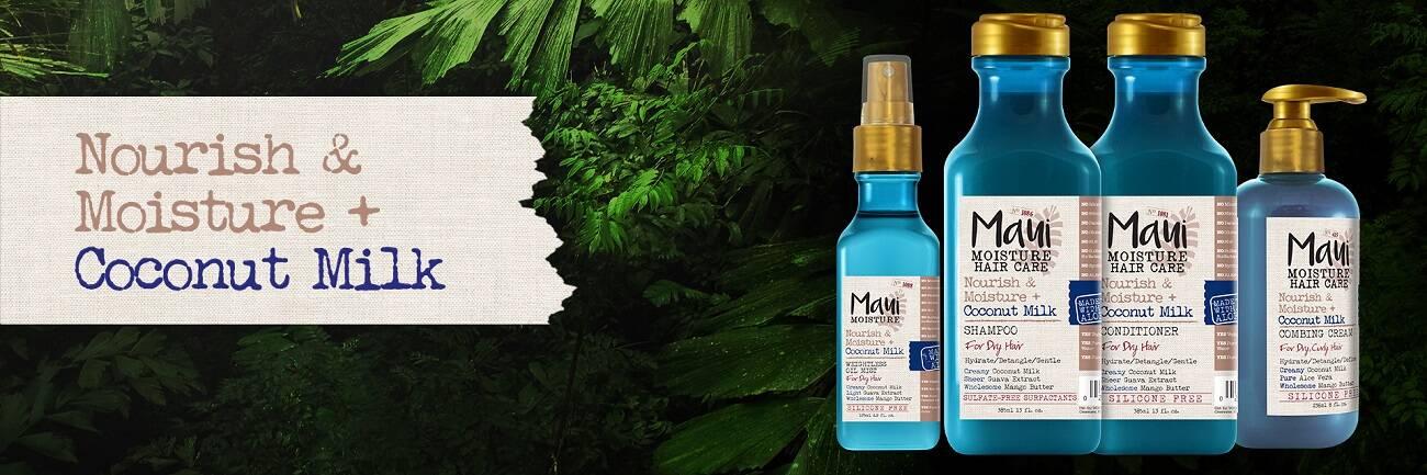 اسپری مو شیرنارگیل و آلوئه ورا مائویی (Maui) اصل | مرطوب و نرم کننده موهای خشک، ضد وز و موخوره | Nourish And Moisture Coconut Milk Weightless Oil Mist 125ml