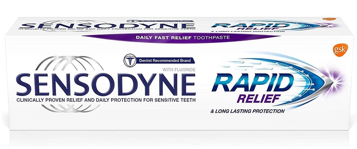 خمیر دندان دندانهای حساس Rapid Relief سنسوداین اصل | محافظت، ضد درد و پوسیدگی، تسکین دهنده فوری دندان Sensodyne Sensitive