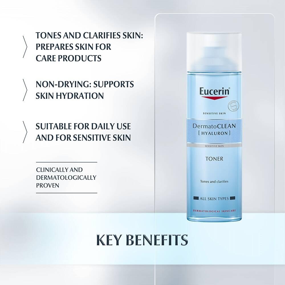 تونر هیالورون درماتوکلین پوست حساس اوسرین مدل DermatoCLEAN Hyaluron Toner | آبرسان، پاک کننده پوست حساس Eucerin