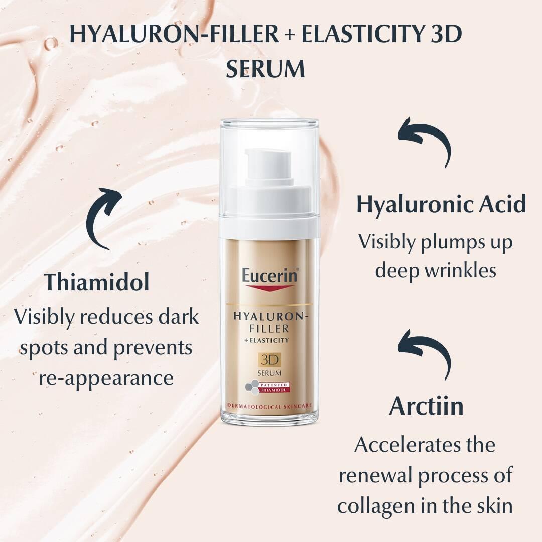 سرم هیالورون فیلر اوسرین مدل الاستیستی Hyaluron Filler + Elasticity 3D   ضد لک، آبرسان، جوانساز و ضد چروک قوی Eucerin