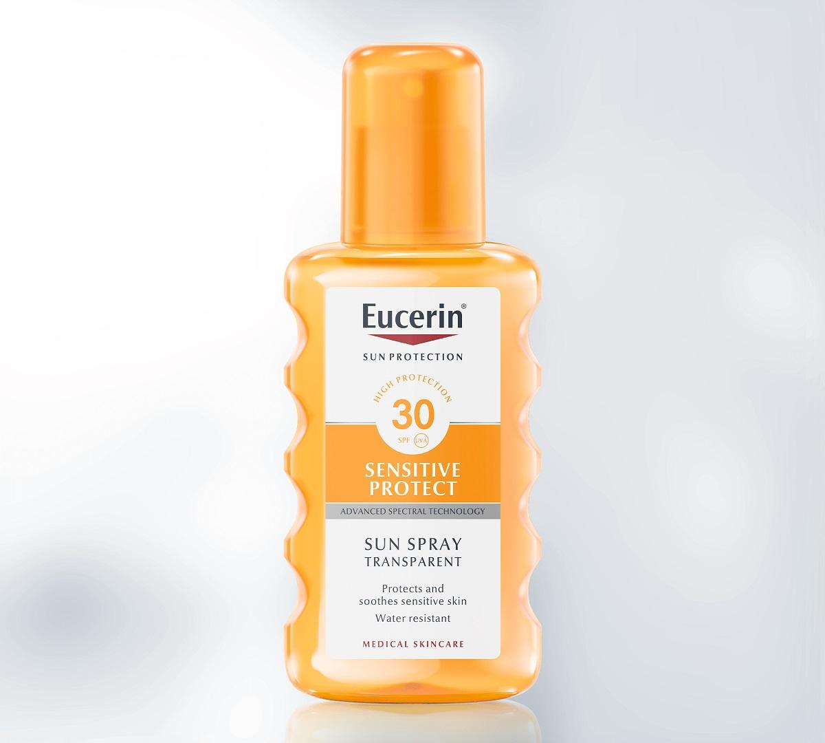 اسپری ضد آفتاب بی رنگ spf50 اوسرین Eucerin   فاقد چربی و ضد آب، مناسب پوست چرب و مستعد جوش