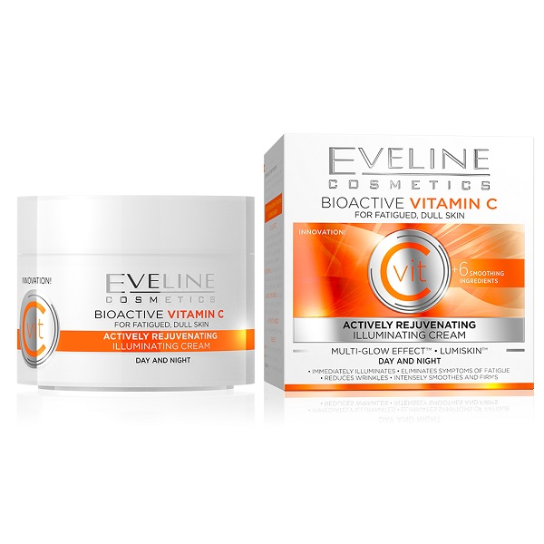 کرم شب و روز ویتامین C اولاین اصل روشن کننده و جوانساز پوست خسته، کدر و تیره (Eveline Bioactive Vitamin C Actively Rejuvenating Illuminating Day and Night Cream 50ml)