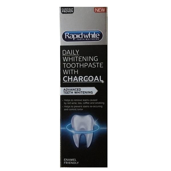 خمیر دندان سفید کننده زغالی رپید وایت اصل حجم 75 میل Rapid White Charcoal Daily whitening Toothpaste | سفید کننده و ضد جرم روزانه