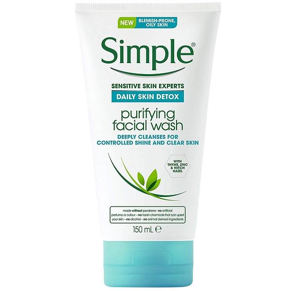 ژل شستشوی روزانه Skin Detox سیمپل مخصوص پوست چرب و مختلط، سم زدایی پوست، پاکسازی منافذ Simple Daily Skin Detox Purifying Facial Wash