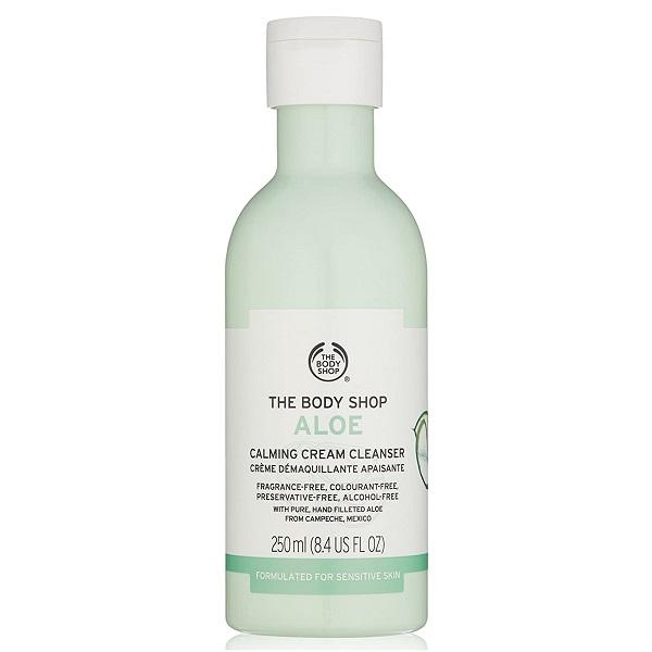 شوینده و پاک کننده کرمی آلوئه ورا بادی شاپ اصل انگلیس برای پوست حساس The Body Shop Aloe Calming Cream Cleanser