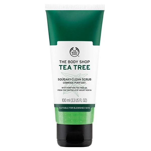 اسکراب لایه بردار پوست بادی شاپ اصل مدل تی تری 100 میلی لیتر | The Body Shop Tea Tree مخصوص پوست چرب و جوش دار