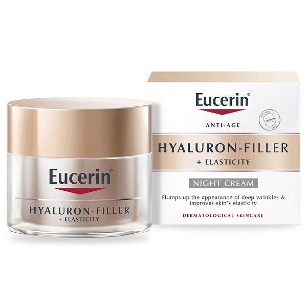 کرم شب ضد چروک اوسرین (کرم شب ضد چروک و لیفت مدل هیالورون فیلر الاستیسیتی اوسرین، انواع پوست) Eucerin Hyaluron-Filler + Elasticity Night Cream