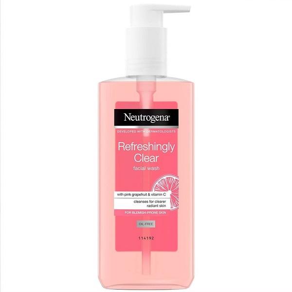 ژل شستشوی صورت گریپ فروت نیتروژنا - گریپ فروت و ویتامین سی مدل Refreshingly Clear   روشن کننده، ضد لک و جوش - Neutrogena Refreshingly Clear Facial Wash with Pink Grapefruit and Vitamin C