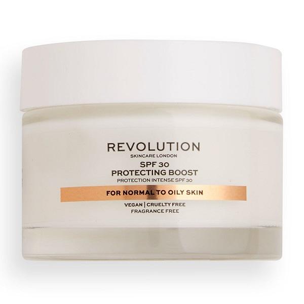 کرم روز پوست نرمال تا چرب Protecting Boost رولوشن 50 میل | دارای Spf 30، کنترل چربی پوست، بدون بو - Revolution Skincare Spf 30 Protecting Boost For Normal To Oily Skin 50ml