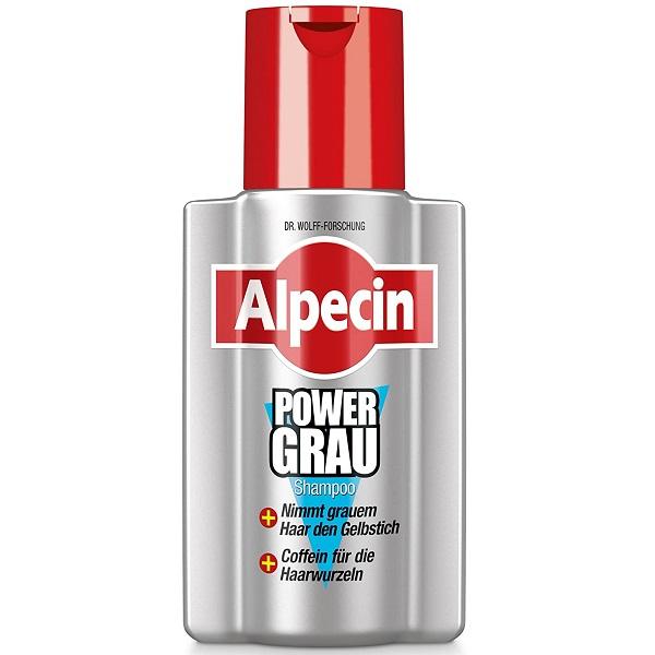 شامپو موهای خاکستری Power Grau آلپسین - ضد ریزش و مخصوص موی خاکستری و حذف زردی مو - Alpecin PowerGrau Shampoo 200ml