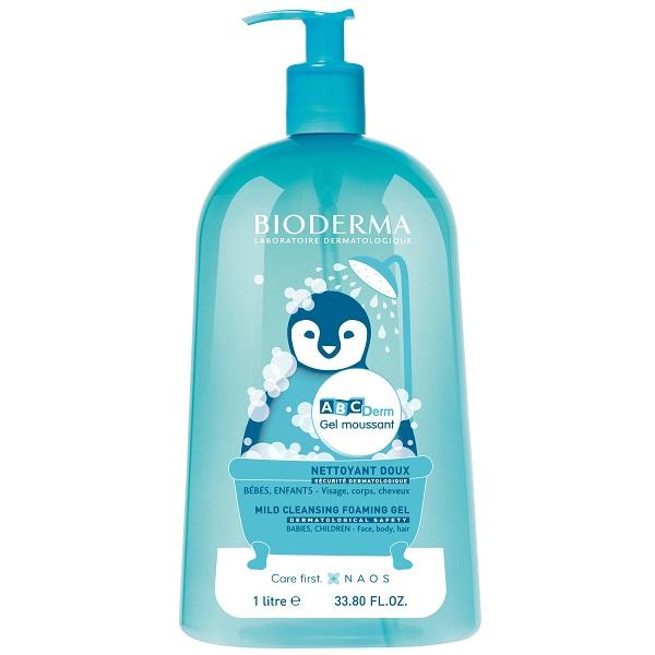 شامپو بچگانه بایودرما مدل ABCDerm – شامپو بچه کودک ای بی سی درم بدون سوزاندن چشم بیودرما اصل فرانسه - Bioderma Abcderm Gel Moussant Foaming Gel Pump 1l
