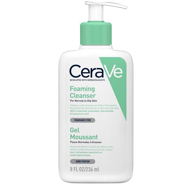فوم شستشوی صورت سراوی اصل حاوی سرامید و هیالورونیک اسید - شوینده فومی پوست نرمال و چرب سراوه - Cerave Foaming Cleanser for normal to oily skin 236ml