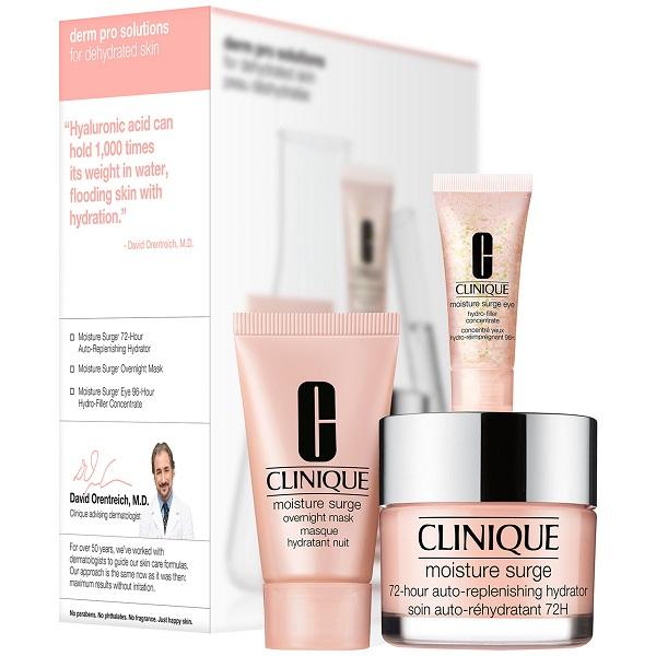 ست محصولات آبرسان Moisture Surge کلینیک اصل شامل کرم مرطوب کننده آبرسان 72 ساعته مویسچر سرج، کرم دور چشم و ماسک خواب (Clinique Moisture Surge Derm Pro Solution For Dehydrated Skin)