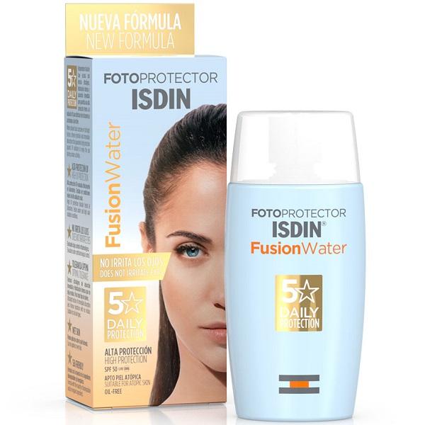 ضد آفتاب ایزدین فیوژن واتر ضد آفتاب بی رنگ ایزدین اسپانیایی برای انواع پوست- مخصوص پوست چرب و حساس - Fotoprotector ISDIN Fusion Water SPF 50+ – 50ml