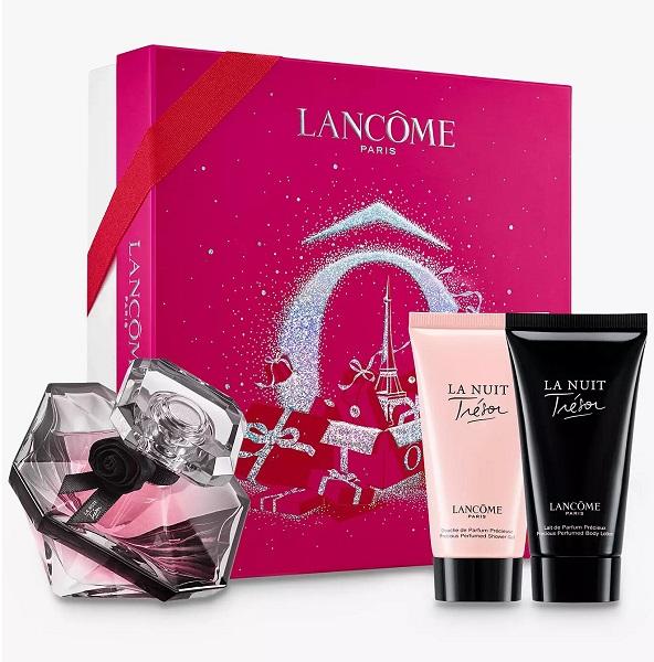 ست ادکلن لانکوم مدل ترزور لانویت همراه لوسیون و ژل ادکلنی شستشوی لانکوم لانویت 50 میل (Lancome La Nuit Tresor L'Eau de Parfum Gift Set, 50ml)