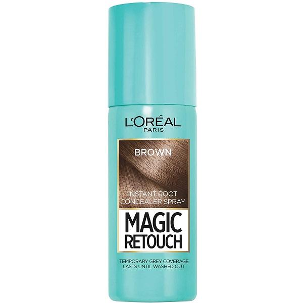 اسپری کانسیلر ریشه مو لورال رنگ Brown قهوه ای مدل مجیک روتوش (loreal Magic Retouch hair spray)