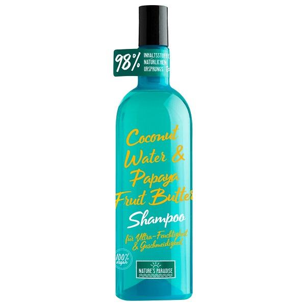 شامپو آب نارگیل و کره پاپایا نیچرز پارادایس تقویت کننده ترمیم کننده آبرسان موی خشک و وز (Nature's Paradise Shampoo Feuchtigkeit Und Geschmeidigkeit COCONUT & PAPAYA, 375 ml)