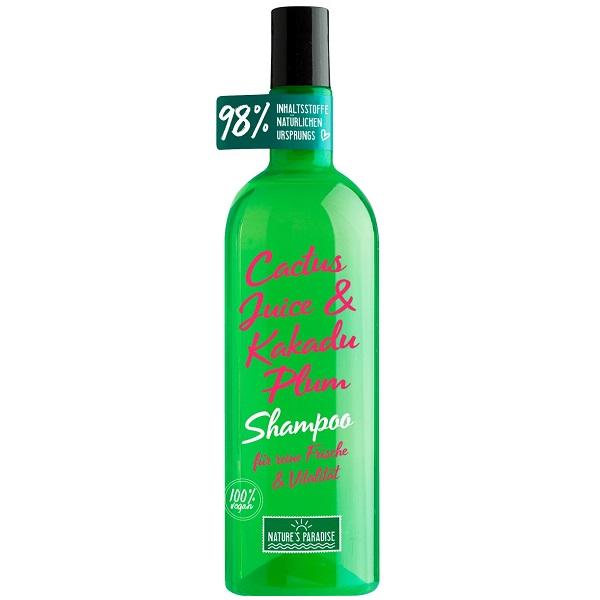 شامپو میوه کاکتوس و آلوی کاکادو نیچرز پارادایس ضد ریزش حجم دهنده ضخیم کننده و مخصوص موی چرب (Nature's Paradise Shampoo Frische und Vitalität CACTUS & KAKADU PLUM, 375 ml)
