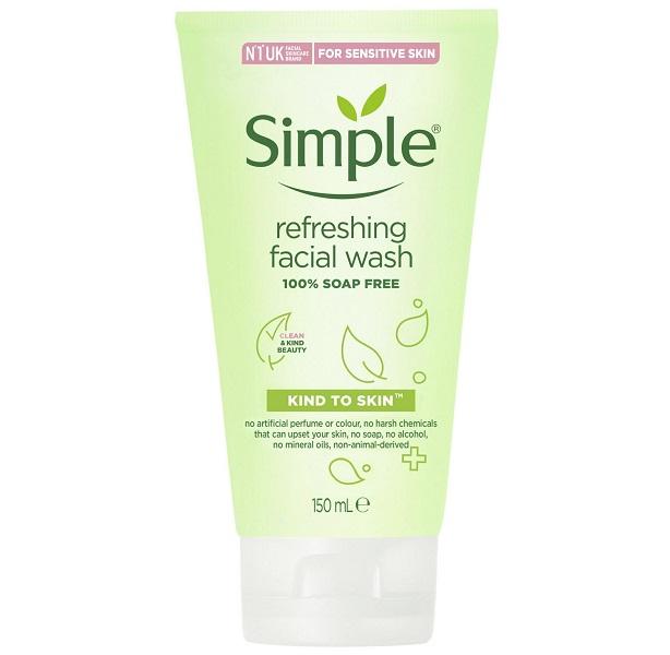 ژل شستشوی شاداب کننده سیمپل – ژل شستشوی صورت سیمپل مناسب پوست حساس یا مستعد جوش و چرب – بدون صابون و الکل و پارابن - Simple Kind To Skin Refreshing Facial Wash