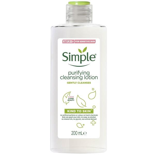 لوسیون پاک کننده سیمپل تولید انگلستان - لوسیون شوینده سیمپل مدل kind to skin – بدون عطر و پارابن و الکل - Simple Kind to Skin Purifying Cleansing Lotion, 200ml