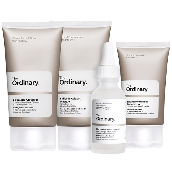 ست بالانس اوردینری - پک محصولات متعادل کننده پوست چرب Ordinary - مناسب پوست چرب و جوش دار و لکه دار شامل یک شوینده کلینزر اسکوالن، ماسک لایه بردار سالیسیلیک اسید، سرم صورت روشن کننده نیاسینامید و زینک و کرم مرطوب کننده (The Ordinary Balance Set)